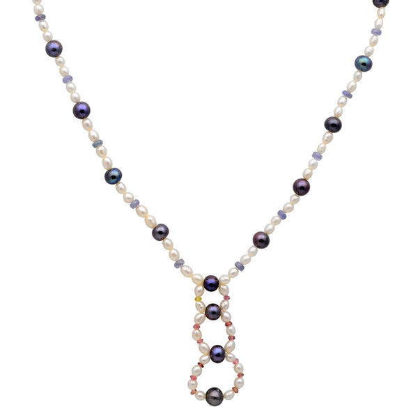 Jeweltique Designs 14k Gold 87.75 Carat Tanzanite, Tourmaline, Sapphire & Pearl Beaded Necklace