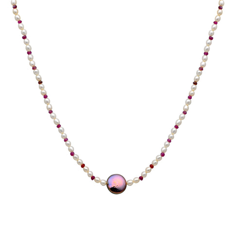 Jeweltique Designs 14k Yellow Gold 50.60 Carat Ruby & Pearl Beaded Drop Necklace
