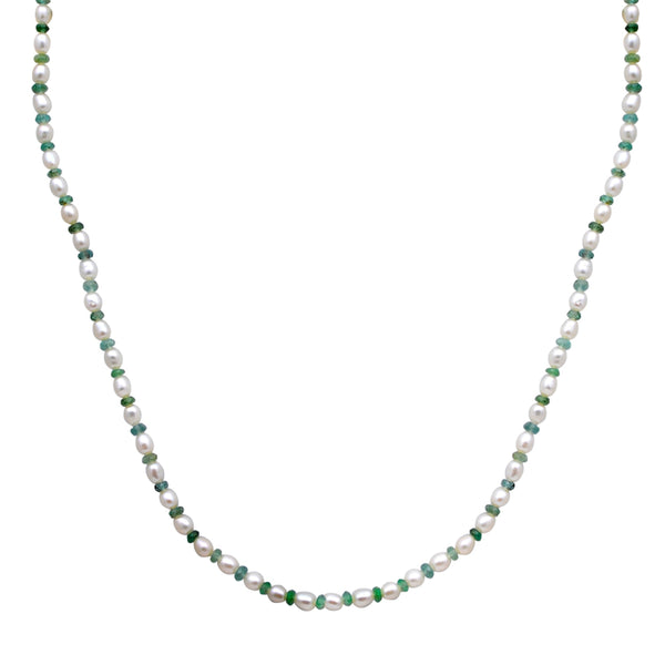 Jeweltique Designs 14k Gold 37.50 Carat Emerald & Pearl Gemstone Beaded Necklace
