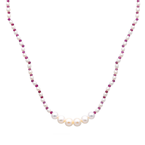 Jeweltique Designs 14k Yellow Gold 60.00 Carat Ruby & White Pearl Beaded Necklace