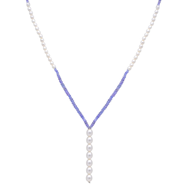 Jeweltique Designs 14k Gold 59.00 Carat Tanzanite & Pearl Beautiful Beaded Necklace