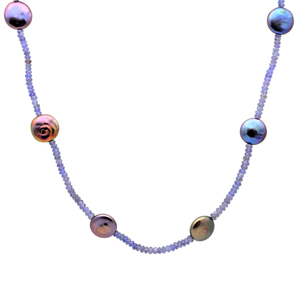 Jeweltique Designs 14k Gold 87.50 Carat Tanzanite & Grey Pearl Beautiful Beaded Necklace