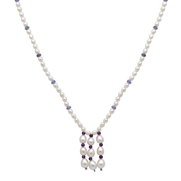 Jeweltique Designs 14k Gold 73.75 Carat Tanzanite, Amethyst & Pearl Beaded Drop Necklace