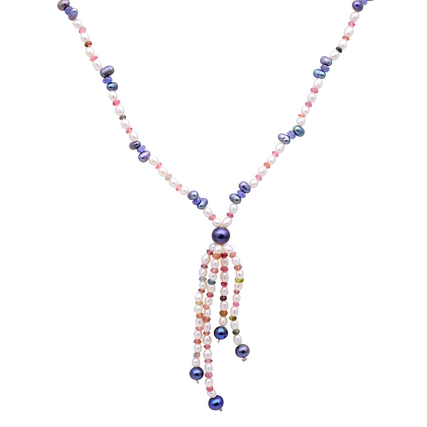 Jeweltique Designs 14k Gold 95.25 Carat Tanzanite, Turmaline, & Pearl Beaded Drop Necklace