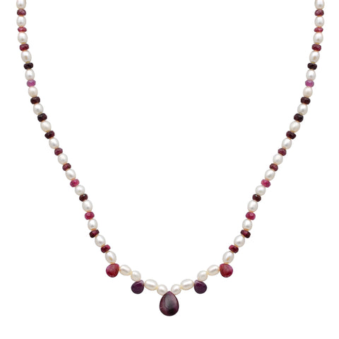 Jeweltique Designs 14k Yellow Gold 55.50 Carat Ruby & Pearl Round Bead Necklace