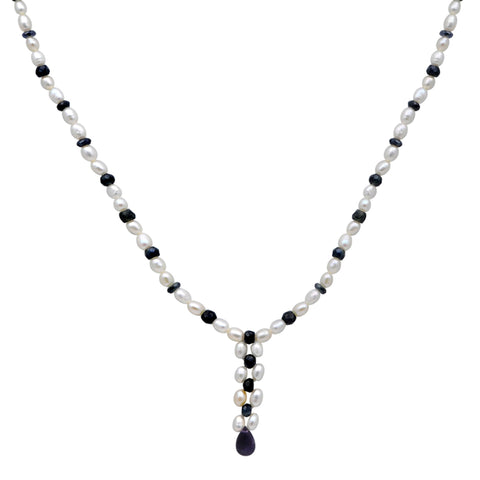 Jeweltique Designs 14k Gold 65.75 Carat Sapphire & Pearl Beaded Drop Necklace