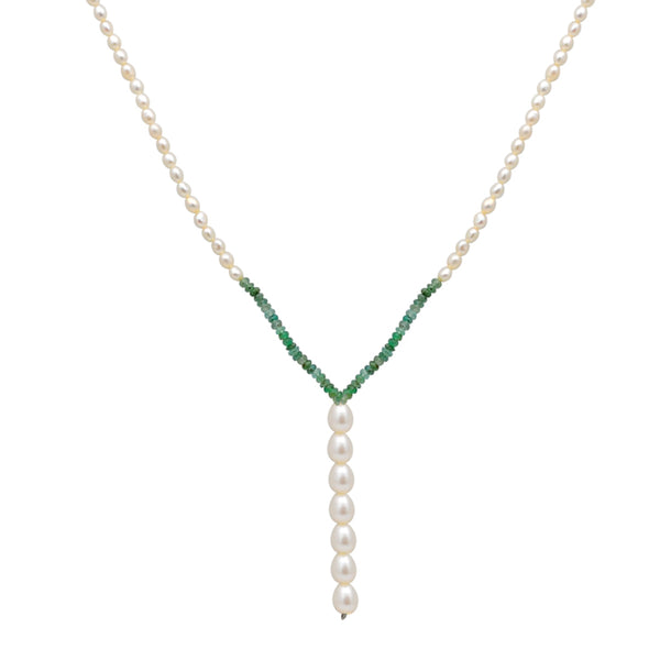 Jeweltique Designs 14k Gold 53.50 Carat Emerald & Pearl Gemstone Beaded Drop Necklace