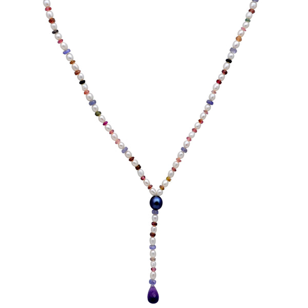 Jeweltique Designs 14k Gold 59.25 Carat Tanzanite, Tourmaline, Amethyst & Pearl Beaded Necklace