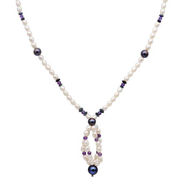 Jeweltique Designs 14k Gold 77.00 Carat Sapphire, Amethyst & Pearl Gemstone Beaded Necklace