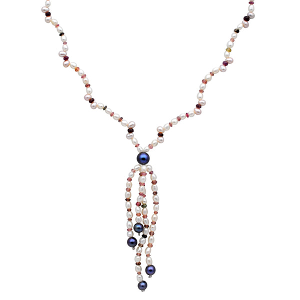 Jeweltique Designs 14k Gold 94.25 Carat Ruby,Tourmaline,White & Grey Pearl Beaded Drop Necklace