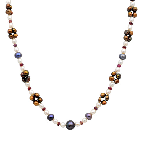 Jeweltique Designs 14k Gold 95.00 Carat Ruby, White, Grey & Brown Pearl Beaded Necklace