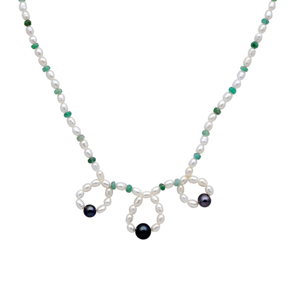 Jeweltique Designs 14k Gold 72.00 Carat Emerald & Pearl Beaded Drop Necklace