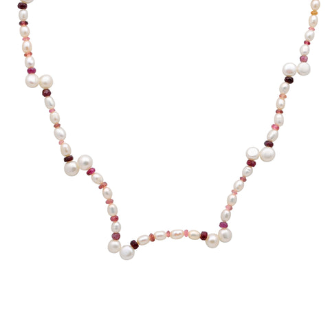 Jeweltique Designs 14k Gold 63.00 Carat Ruby, Tourmaline & Pearl Beaded Gemstone Necklace