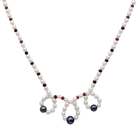 Jeweltique Designs 14k Gold 82.75 Carat Ruby & Pearl Beaded Gemstone Necklace