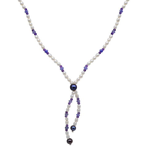 Jeweltique Designs 65 Carat Tanzanite, Amethyst & Pearl 14k Yellow Gold Beaded Necklace