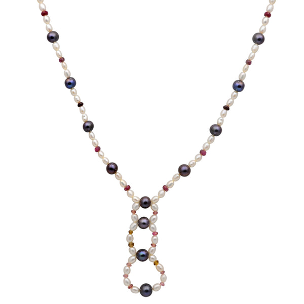 Jeweltique Designs 85 Carat Ruby Tourmaline & Pearl 14k Yellow Gold Beaded Necklace