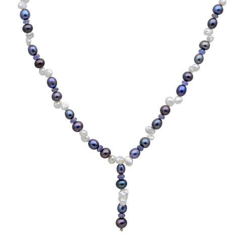 Jeweltique Designs 104 Carat Tanzanite, Pearl & Grey Pearl 14k Yellow Gold Beaded Necklace