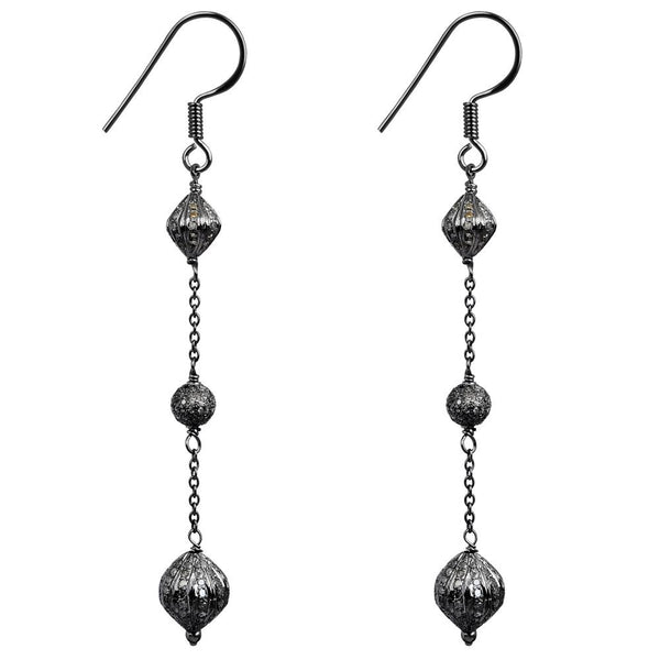 Jeweltique Designs 925 Sterling Silver 3.08 Carat Diamond Dangle Earrings