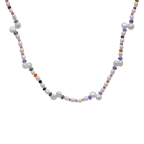 Jeweltique Designs 64.25 Carat Tourmaline, Tanzanite & Pearl 14k Yellow Gold Beaded Necklace