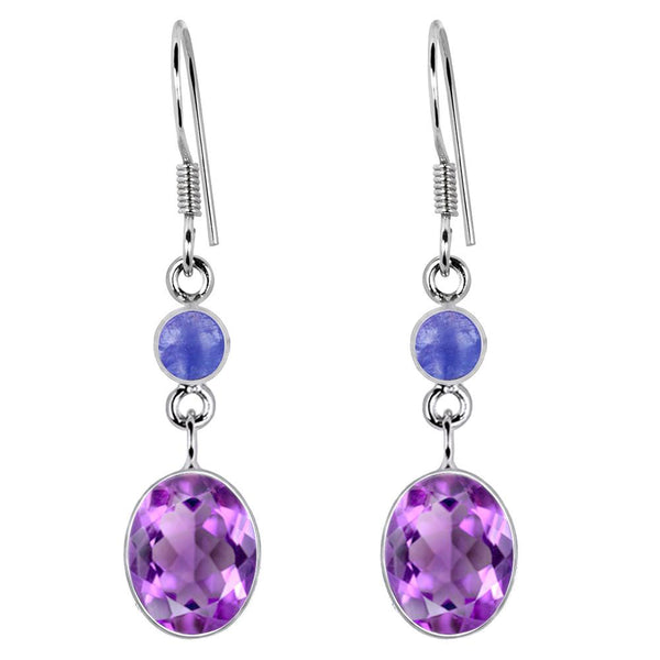 Orchid Jewelry 925 Sterling Silver 10.00 Carat Genuine Amethyst and Tanzanite Dangle Earring