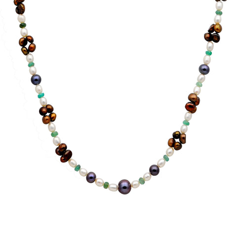 Jeweltique Designs 96.75 Carat Emerald, Brown & Grey Pearl 14k Yellow Gold Beaded Necklace