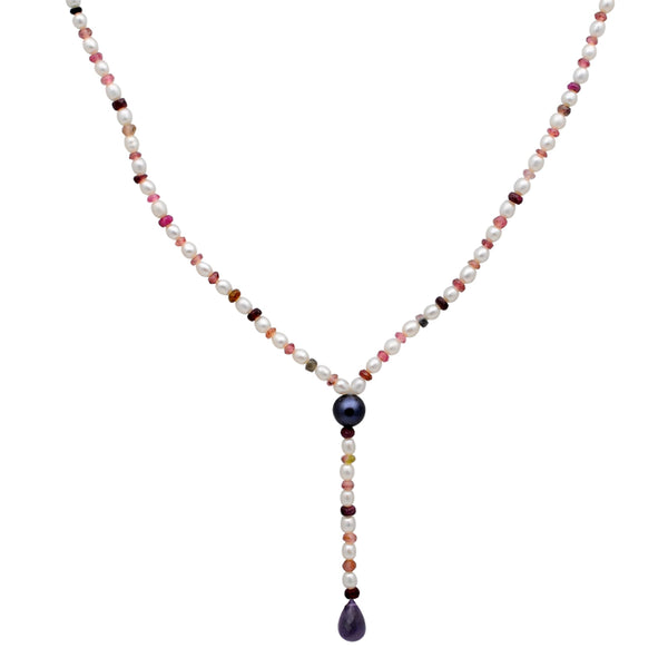 Jeweltique Designs 57.5 Carat Tourmaline, Ruby, Amethyst & Pearl 14k Yellow Gold Y-Shape Necklace