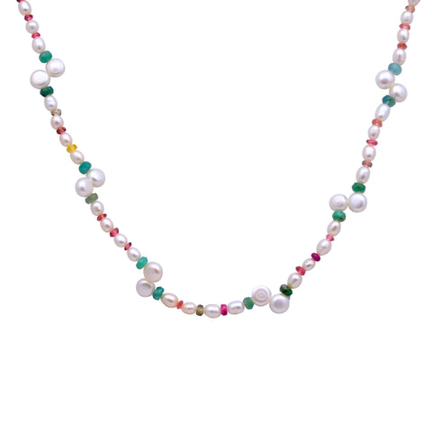 Jeweltique Designs 60 Carat Emerald, Tourmaline & Pearl 14k Yellow Gold Beaded Necklace