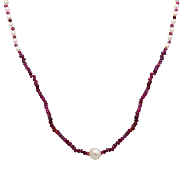 Jeweltique Designs 48.5 Carat Ruby & Pearl 14k Yellow Gold Strand Necklace