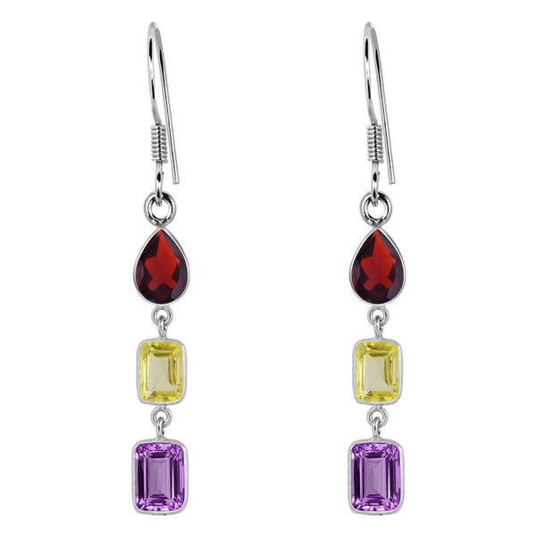 Orchid Jewelry 925 Sterling Silver 7.90 Carat Amethyst, Citrine and Garnet Dangle Earrings
