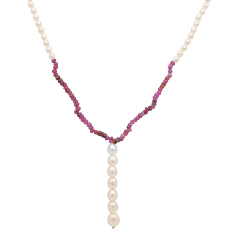 Jeweltique Designs 69 Carat Ruby & Pearl 14k Yellow Gold Beaded Necklace