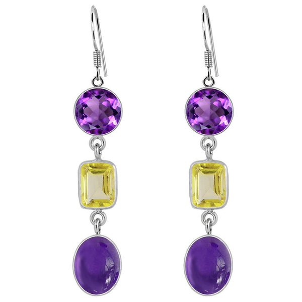 Orchid Jewelry 925 Sterling Silver 19.36 Carat Amethyst and Lemon Quartz Dangle Earrings