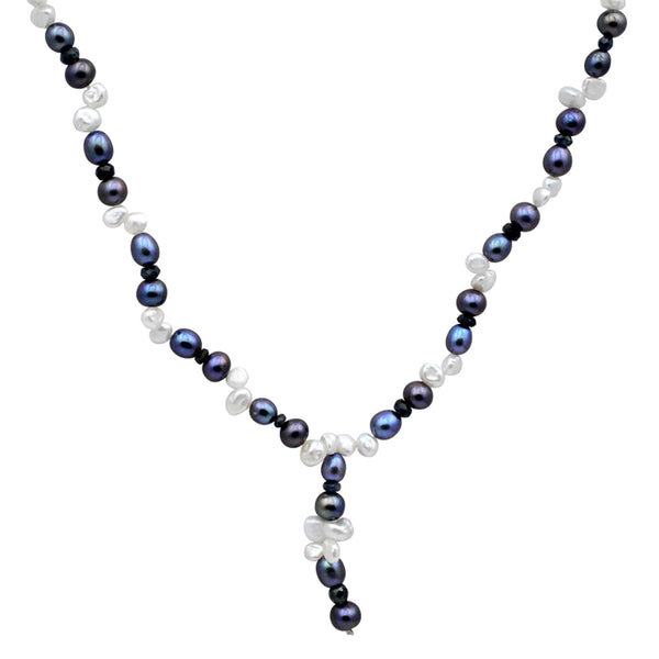 Jeweltique Designs 105 Carat Sapphire, White & Grey Pearl 14k Yellow Gold Beaded Necklace