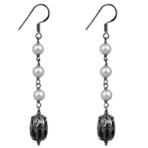 Jeweltique Designs  Sterling Silver 10.32 Carat Diamond & Pearl Drop Earrings