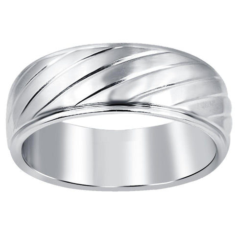 Quality Jewelry Men's Stainless Steel High Polished Textured Band Ring