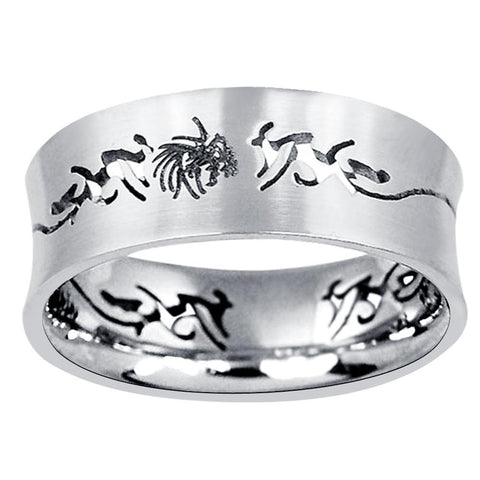 Quality Jewelry Men's Stainless Steel High Polished Engraved Band Ring