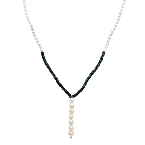 Jeweltique Designs 73 Carat Emerald & Pearl 14k Yellow Gold Beaded Necklace