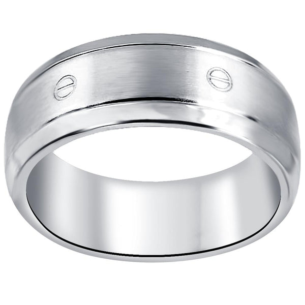 Quality Jewelry Men's Stainless Steel High Polished Screw Band Ring