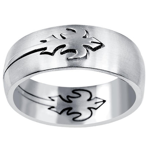 Quality Jewelry Men's Stainless Steel High Polished Puzzle Motif Silver Plated Men's Ring