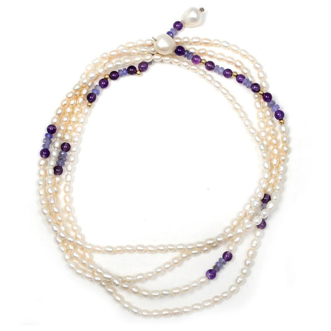Jeweltique Designs 133.5 Carat Tanzanite, Amethyst & Pearl 14k Yellow Gold Long Necklace