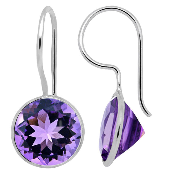 Orchid Jewelry 6.50 Carat Genuine Amethyst Dangle Earring in 925 Sterling Silver