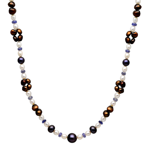 Jeweltique Designs 97 Carat Tanzanite, Pearl Brown & Pearl Grey 14k Yellow Gold Beaded Necklace
