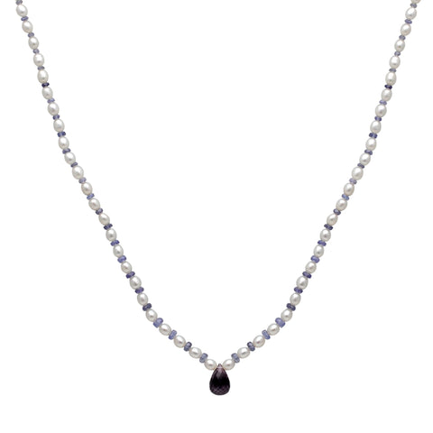 Jeweltique Designs 49.5 Carat Tanzanite, Amethyst & Pearl 14k Yellow Gold Beaded Necklace