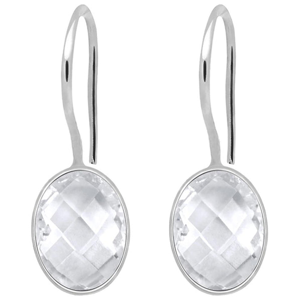 Orchid Jewelry 925 Sterling Silver 11.58 Carat Genuine White Topaz Earring