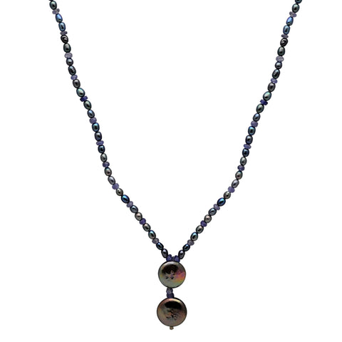 Jeweltique Designs 62.5 Carat Tanzanite & Grey Pearl 14k Yellow Gold Beaded Necklace
