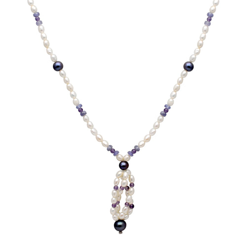Jeweltique Designs 75.50 Carat Tanzanite, Amethyst & Pearl 14k Yellow Gold Beaded Necklace