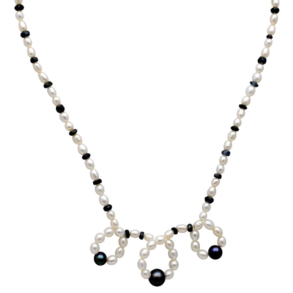 Jeweltique Designs 80.5 Carat Sapphire, Pearl & Grey Pearl 14k Yellow Gold Beaded Necklace