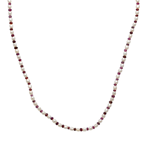 Jeweltique Designs 41.75 Carat Ruby & Pearl 14k Yellow Gold Beaded Necklace