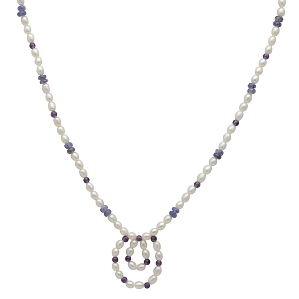 Jeweltique Designs 55.5 Carat Tanzanite, Amethyst & Pearl 14k Yellow Gold Beaded Necklace