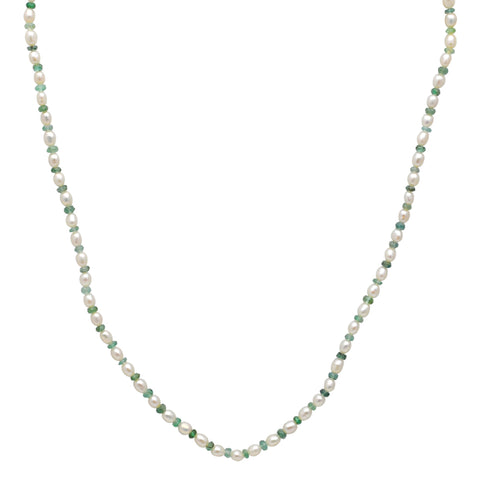 Jeweltique Designs 38 Carat Emerald & Pearl 14k Yellow Gold Beaded Necklace