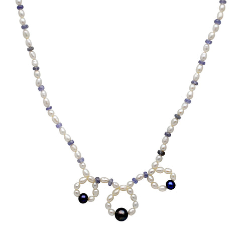 Jeweltique Designs 71 Carat Tanzanite, Pearl & Grey Pearl 14k Yellow Gold Beaded Necklace
